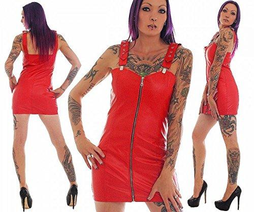 FWT Fashionworld-Trade Lederkleid echt Leder Kleid Rindsleder Trägerkleid Minikleid rot alle Größen, Konfektionsgröße Damen:S 36/38