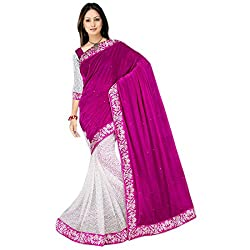 Mahadev Half Half Party Wear Velvet & Net Jacquard Saree for Women with embroidered work lace and blouse(Pink , Free size , MRC_11 ) ( with discount and sale offer)