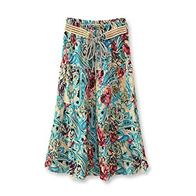 J.Cotton Women's Bohemian Style Color-printed Flax Belted Skirt