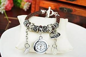 Fashion Women Ladies Heart Alloy Weave Rope Elegant Bracelet Quartz Jewelry Watch Brown