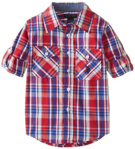 U.S. Polo Assn. Little Boys' Long Sleeve Plaid Two Pocket Sport Shirt, Engine Red, 4T