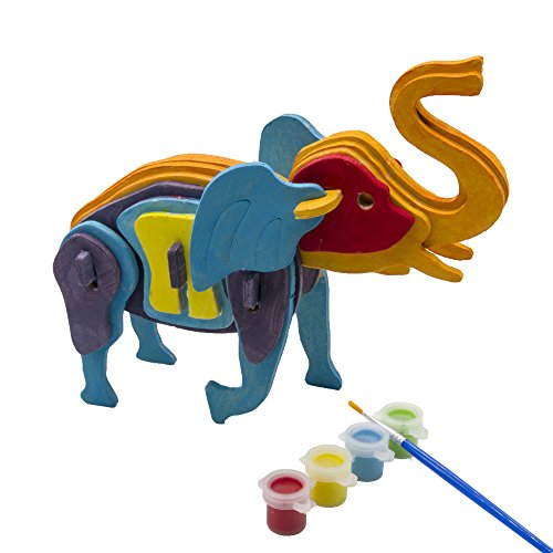 3d Puzzle Birthday Gift Wood Art Projects for Kids Adults Animal Crafts Assemble Paint DIY Model Kits Cute Elephant (Animal Robot For Kids compare prices)