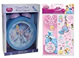 DISNEY PRINCESS CINDERELLA BLUE GIANT BEDSIDE TABLE BELL BEDROOM CLOCK - PLUS FREE ACCESSORY PACK