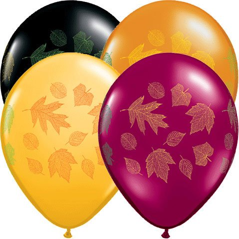 "11"" Autumn Leaves Around Latex Balloons"