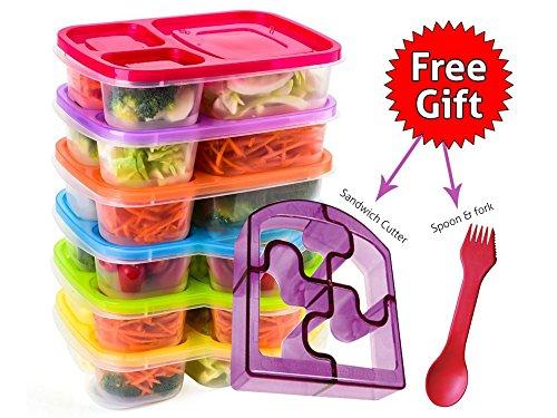 Bento Lunch Boxes-Lot de 6boîtes repas Premium Multicolore-Idéal pour adultes, enfants, filles et garçons-Style Japonais 3compartiments boîtes repas sans-2en 1Fourchette/cuillère et Sandwich de puzzle