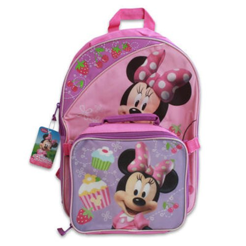 """16"""" Full Size Minnie Mouse Back Pack With Detachable Lunch Bag front-842550"""
