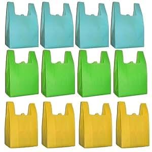 Reusable Grocery T-Sack Bag, Assorted Color 12 Pk Set