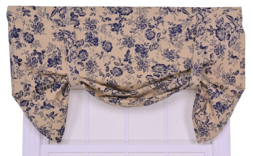 Ellis Curtain Palmer Floral Toile Lined Tie-Up Valance Window Curtain, Navy (Toile Kitchen Curtains compare prices)
