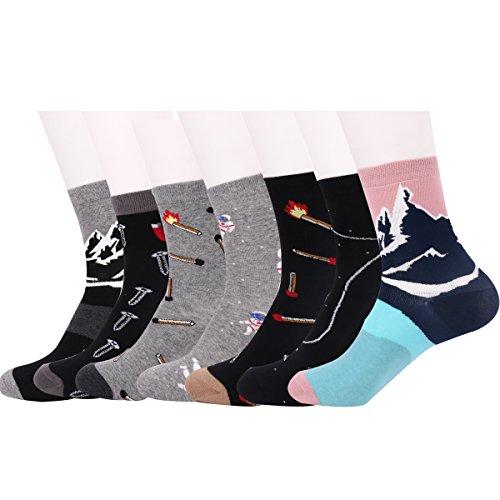 Zmart Women Sweet Cotton Crew Socks Creative Patterned Funny Socks 7 Pack (Funny Socks Pack compare prices)