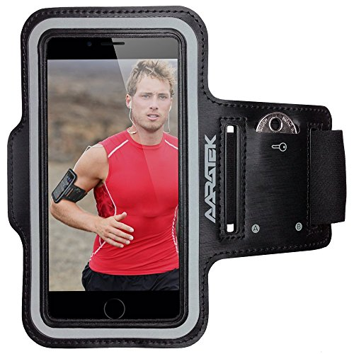 AARATEK Pro Sport Armband for iPhone 6|6s, Galaxy S6|S5|S4 (Black) - Rated #1 - Best for workouts, running, cycling, or any fitness activity outside or in the gym - Room for cash/card too!