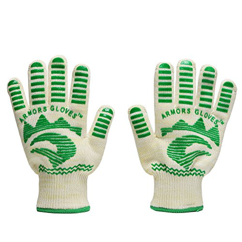 Armors Gloves (Set Of 2) - Oven Glove Withstand Heat Up To 662F - Outdoor And Kitchen Comfortable Top Class Bbq Glove - Grill Gloves For Left Or Right Hand (Green)