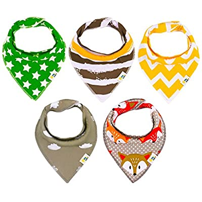 Baby Bandana Bibs for Boys and for Girls - 5 Pack Set made of 100% Organic Cotton - Extra Absorbent Drool Bibs with Snaps by OliverJunior - Protect Your Infant from Drools