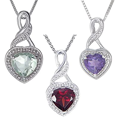 "Sterling Silver Garnet or Amethyst Heart Pendant (0.70 CT) With 18"" Chain"