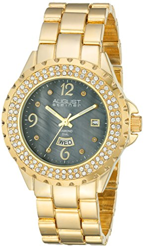 August Steiner Women's Gold-Tone Watch with Link Bracelet