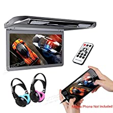 """buy Xtrons® 13.3"""" Hd 1080P Video Car Mpv Roof Flip Down Slim Monitor Overhead Player Wide Screen Ultra-Thin With Hdmi Input 2Pcs Ir Children Headphones Included(Color: Blue&Pink)"""
