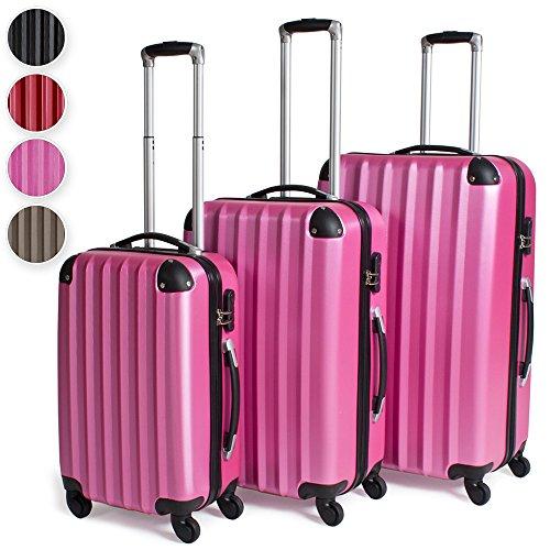 TecTake Trolley valigia valigie set rigido borsa 3 pz. - disponibile in diversi colori - (Rosa)