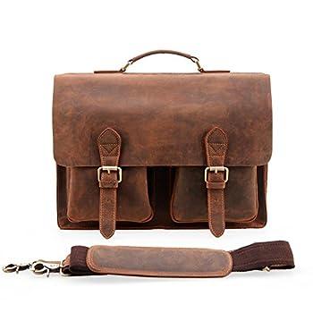 Kattee Handmade Genuine Leather Laptop Briefcase Messenger Bag 2