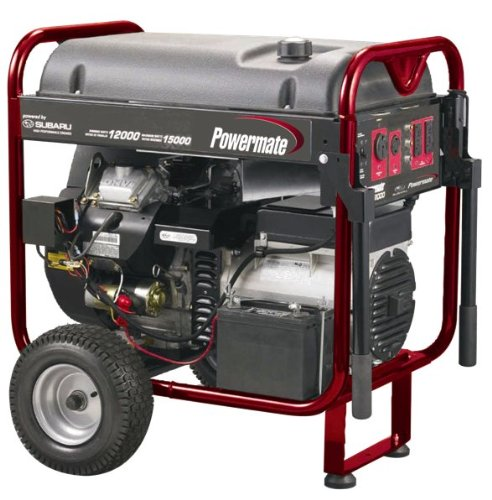 Powermate PM0601250 15,625 Watt 653cc 22 HP Subaru EH65 V-Twin Gas Powered Portable Generator With Electric Start