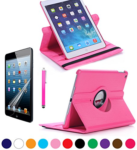 Sheath Ipad Air Multi Angle 360 Rotating Case Cover With Screen Protector And Stylus For New Ipad Air 5Th Generation With Ratina Display (Hot Pink) front-575780