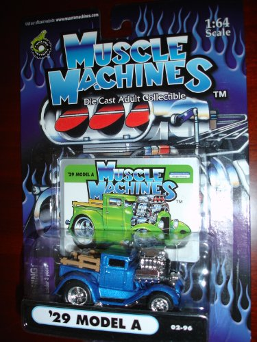 Muscle Machines 29 Model A Metallic Blue with Hood Scoop - 1