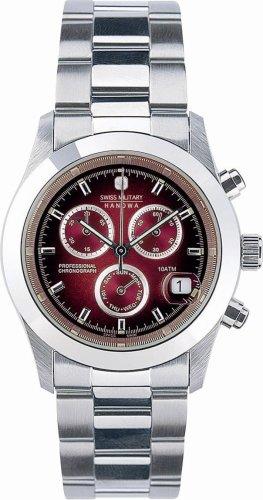 SWISS MILITARY (スイスミリタリー) 腕時計 ML/185 エレガント ビッグクロノ ボルドー 文字盤 メタルブレスレット メンズ