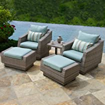 Hot Sale RST Outdoor Cannes Bliss 5 Piece Club Chair and Ottoman with Side Table