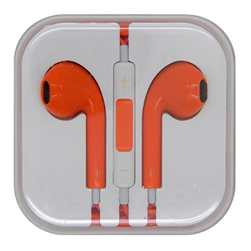 Orange Color Stereo Bass Headphone Mic Volume Control Remote Earphone Earpods Headset For Iphone 4 4S 5 5S Ipad 2 3 4