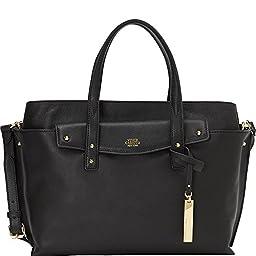 Vince Camuto Ilya Leather Satchel Shoulder Bag, Black, One Size