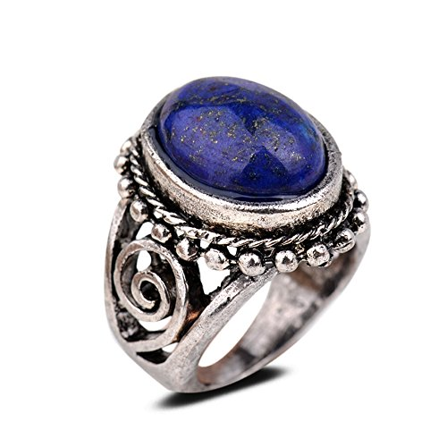 Yazilind Vintage Antique Oval Cut Blue Lapis Lazuli Retro Silver Plated 6.5 Ring Women