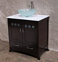 California USA Modern Espresso 36″ Frosts Glass Vessel Sink Marbel Top Solid Wood Vanity Cabinet…