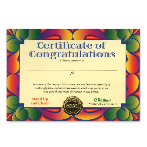 "Certificate Of Congratulations Certificate Greeting 5"" x 7"" Party Accessory - 1"