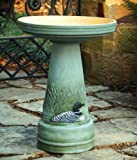 Great Northern Loon Handcrafted Clay Birdbath - Made in the USA