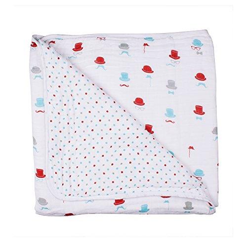 Bebe au Lait Premium Muslin Snuggle Blanket, Bowler and Polka