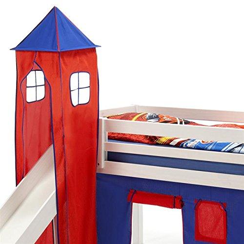 Turm MAX zu Bett mit Rutsche, Spielbett, Rutschbett, Kinderbett in blau/rot kaufen