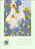 White Ducks Goose Birthday Card - Geese in Iris by Anne Mortimer