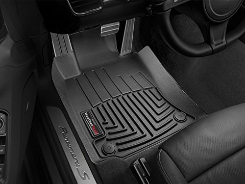 2010-2015 Porsche Panamera (Standard or Long Wheel Base) Weathertech Black Floor Liners - Front Set (Weathertech Panamera compare prices)