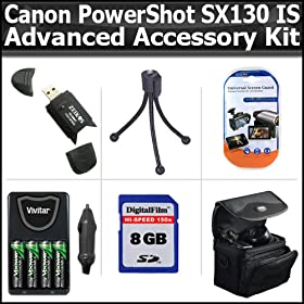 8GB Advanced Accessory Kit For Canon PowerShot SX130 IS SX130IS Digital Camera Includes 8GB High Speed SD Memory card + USB 2.0 High Speed Card Reader + 4AA High Capacity Rechargeable NIMH Batteries And AC/DC Rapid Charger + Deluxe Case + LCD Screen