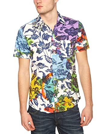 Desigual - Biendah - Chemise - Homme - Blanc-Tr-Dv18 - FR : Small (Taille fabricant : Small)