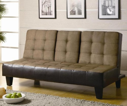 Futon Sofa Bed with Drop Down Console in Two Tone Finish