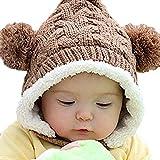 Baby Infant Knit Crochet Rib Pom Pom Winter Warm Hat Cap Hood Brown