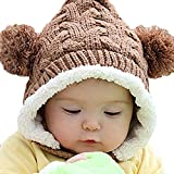Baby Infant Knit Crochet Rib Pom Pom Winter Warm Hat Cap Hood Brown