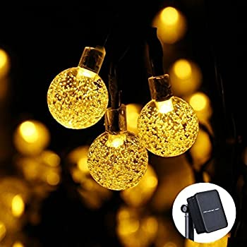 Icicle Waterproof 30 LED Crystal Solar Globe String Lights, Warm White, (20-Feet)