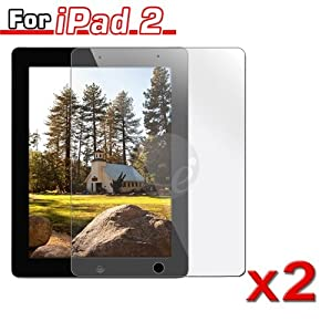 2 Pack Transparent Clear LCD Screen Protector Film for Apple iPad 2 16GB / 32GB / 64GB