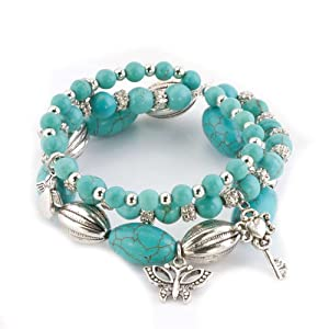 Pugster Bling Jewelry Set 3 Stackable Turquoise Dangle Butterfly Moon Key Angel Beads Bracelet