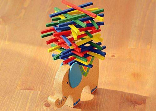 [Wooden Colourful Balance Sticks Ride on Elephant Motor Skill Training Toy] (Ride On Elephant Costume)