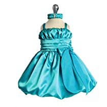 Baby Turquoise Special Occasion Dress with Headband (3M to 24M) - SIZE 6M