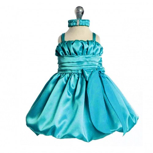 Baby Turquoise Special Occasion Dress With Headband (3M To 24M) - Size 6M front-732702
