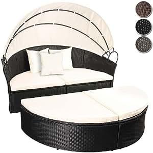 Canapé de jardin - Noir - en résine tressée - avec pare-soleil - Ø 166 cm - DIVERSES COULEURS AU CHOIX
