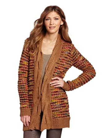 D.E.P.T. Women's Knit Cardigan, Warm Camel, Small