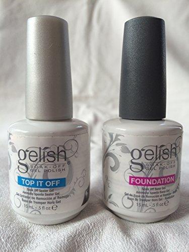 Gelish Top + Base Foundation Gel Harmony Soak off Gel Polish 15ml 0.5oz each